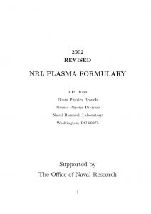 thumbnail of NRL PLASMA FORMULARY