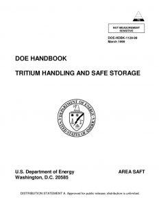 thumbnail of DOE Tritium Handling and Safe Storage
