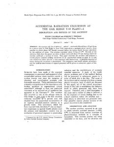 thumbnail of Accidental Radiation Excursion at the Oak Ridge Y-12 Plant—I, Description and Physics of the Accident Health Phys., 1, 363-372 1959