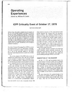 "thumbnail of ICPP Criticality Event of October 17, 1978."" Nuclear Safety, vol. 21, No. 5, (October 1980)"