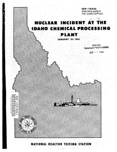 thumbnail of IDO-10036 Nuclear Incident at the Idaho Chemical Processing Plant on January 25, 1961