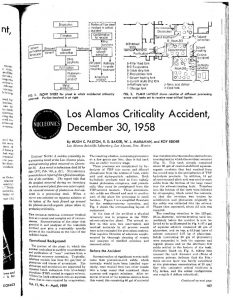 "thumbnail of Los Alamos Criticality Accident, December 30, 1958."" Nucleonics, 17(4), pp. 107-108, 151 (1959)"