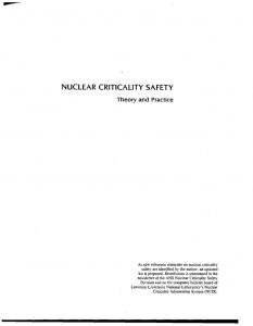 thumbnail of Nuclear Criticality Safety Theory and Practice1985