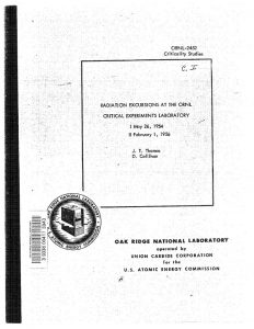 "thumbnail of ORNL-2452 ""Radiation Excursions at the ORNL Critical Experiments Laboratory. I. May 26, 1954. II. February 1, 1956"