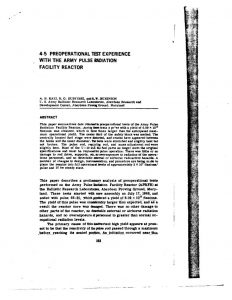 thumbnail of Preoperational Test Experience with the Army Pulse Radiation Facility Reactor In Proc of the National Topical Meeting on Fast Burst Reactors Albuquerque NM 1969