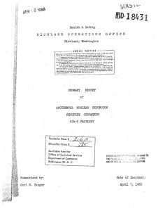 thumbnail of Summary Report of Accidental Nuclear Excursion Recuplex Operation 234-5 Facility HW74723, Richland Operations Office, AEC, TID-18431 (1962)