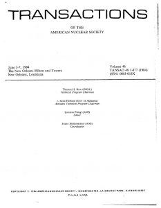 "thumbnail of The Hanford Pulser Accident."" Transactions of the American Nuclear Society, 46, pp. 463-464, (June 1984)"