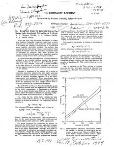 thumbnail of Trans. Am. Nuc. Soc., 19, pp. 189-191, (October 1974) Empirical Model to Estimate Energy Release from Accidental Criticality