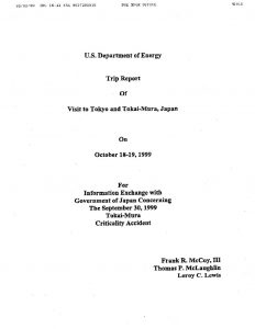 thumbnail of US DOE Trip Report Tokyo and Tokai-Mura Japan on October 18-19 1999 with Japan Concerning the September 30 1999 Tokai-Mura Criticality Accident