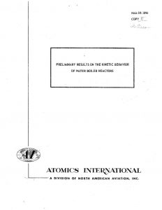 thumbnail of NAA-SR-1896 1987 Preliminary Results on the Kinetic Behavior of Water Boiler Reactors